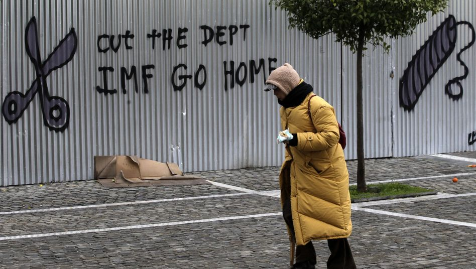 Graffiti in Athens: The troika is more hated in Greece than in any other crisis country. Greeks view the body as the equivalent to an occupying power.