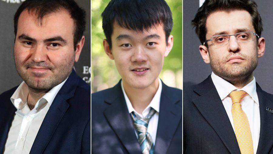 Schachrijar Mamedjarow (l.), Ding Liren (M.), Lewon Aronjan