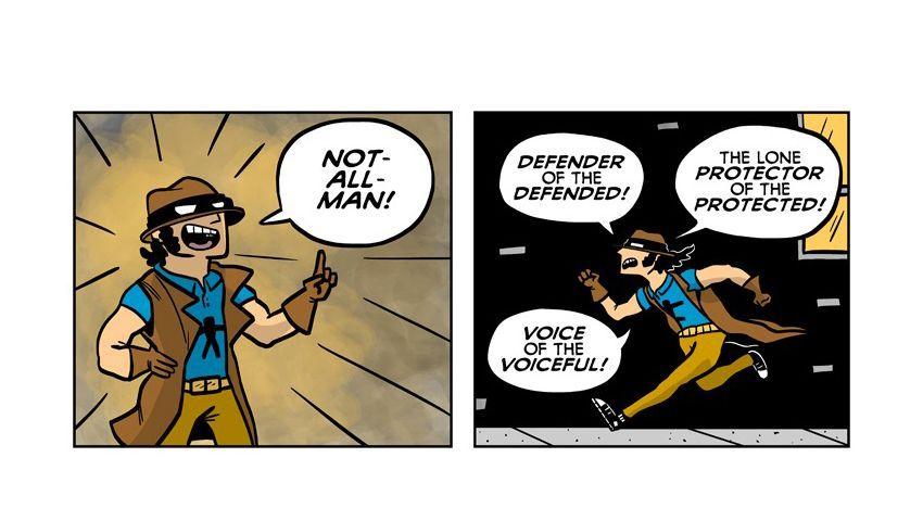 Auszug aus dem Lubchansky-Comic: Not-All-Man beschützt die Beschützten
