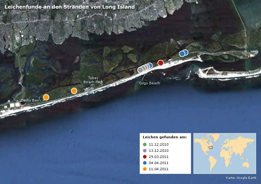 Karte Leichenfunde an den Stränden von Long Island