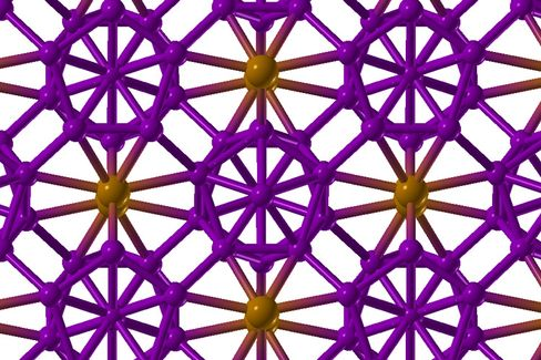 Bor-Kristall (Grafik): Hoher Druck formiert die Bor-Atome zu negativ geladenen Ikosaedern (blau) und positiv geladenen Hanteln (orange)