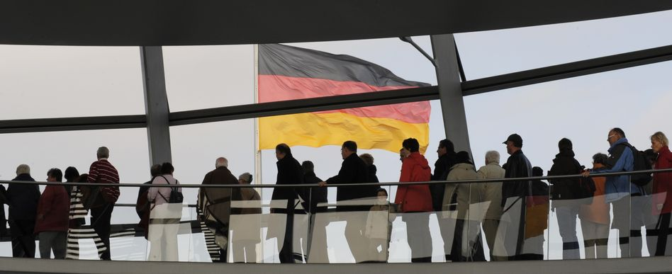 Visitors to the Reichstag in Berlin.
