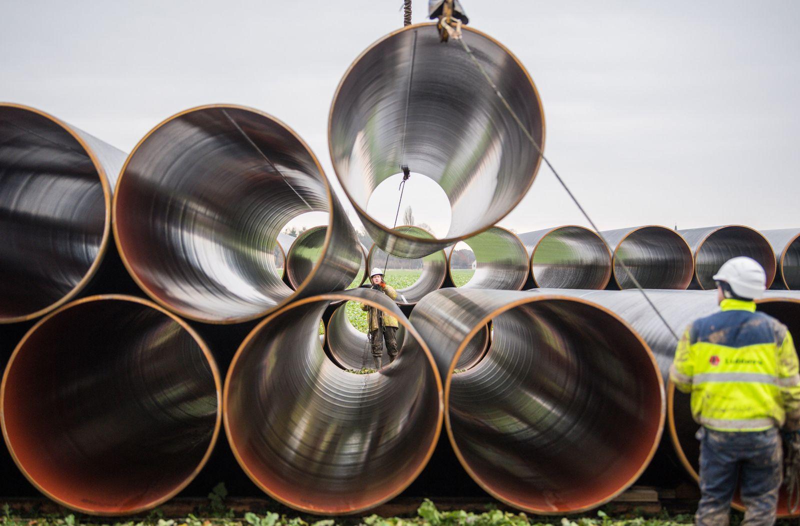 Vorbereitungen für den Bau der Gasleitung EUGAL