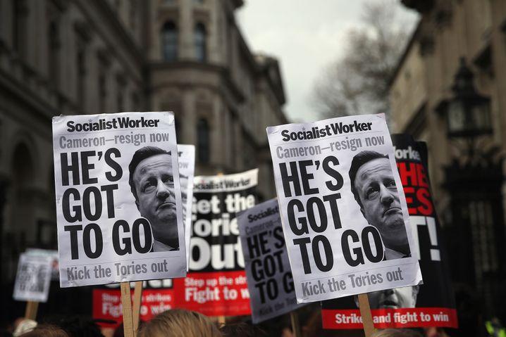 Protest gegen britischen Premier Cameron