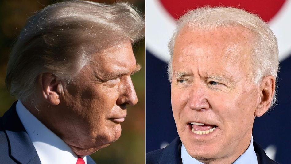 Joe Biden (r.) und Donald Trump