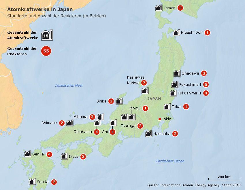 Grafik - Atomkraftwerke in Japan - Standorte und Anzahl der Reaktoren