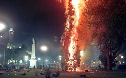 Hauptstadt in Flammen: Auf der Plaza Mayo in Buenos Aires fangen Bäume Feuer, nachdem die Polizei mit Tränengas gegen Demonstranten vorging, die gegen den Ausnahmezustand protestierten