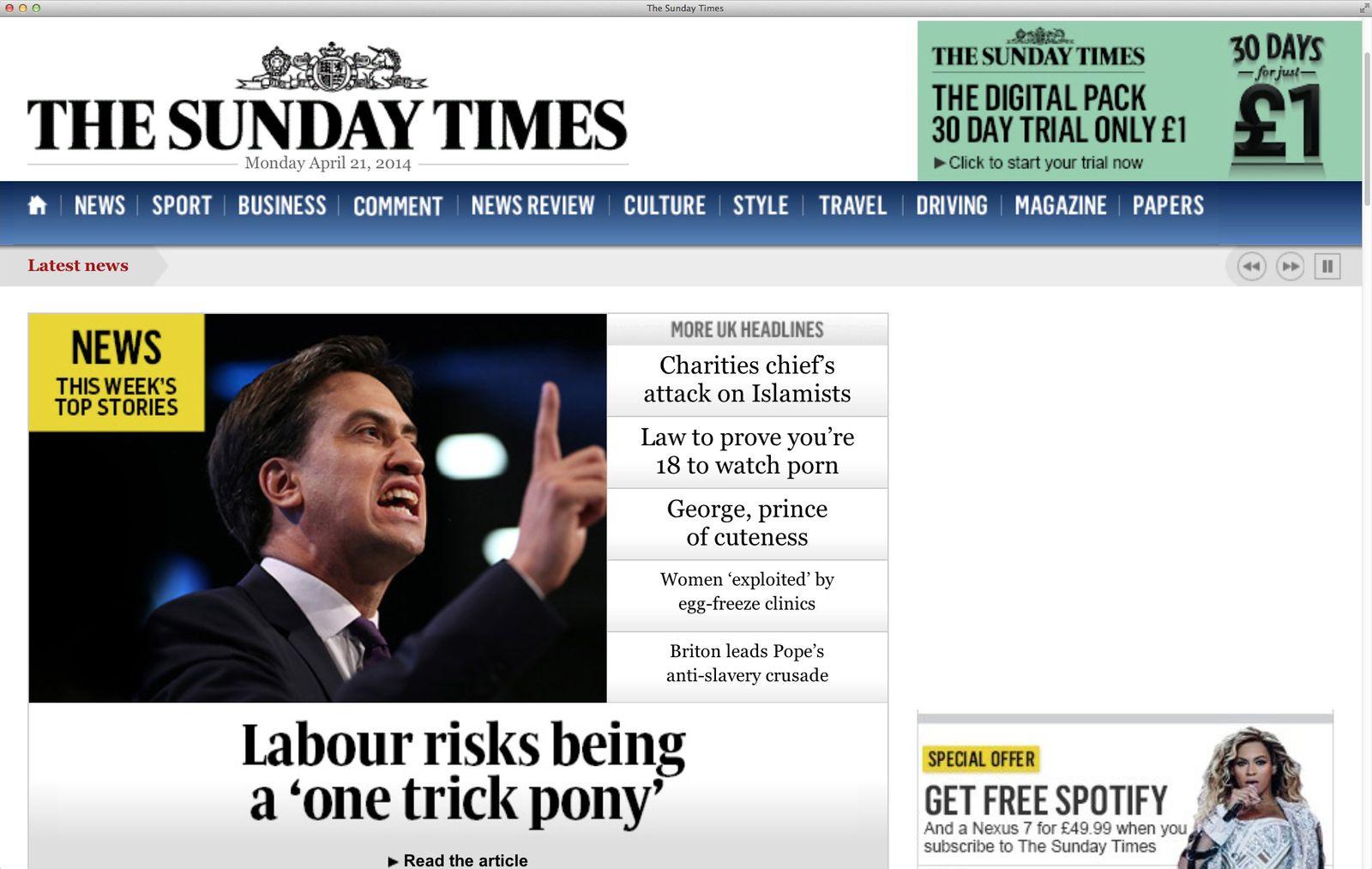 EINMALIGE VERWENDUNG NUR ALS ZITAT Screenshot/ Sunday Times