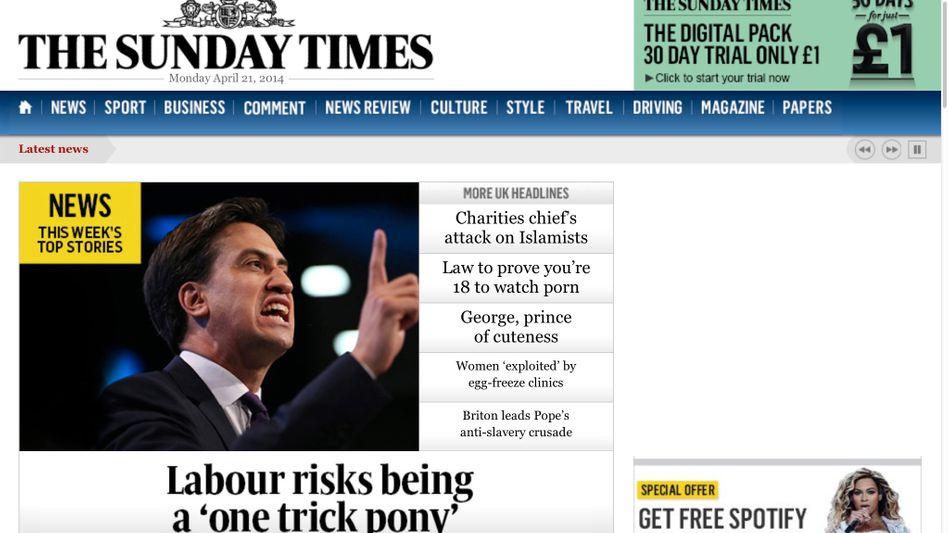 "Homepage der ""Sunday Times"": Über 150.000 Digital-Abos"