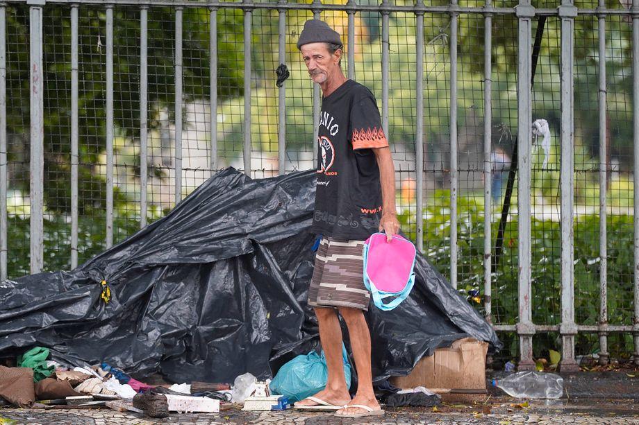 A homeless person in Rio de Janeiro