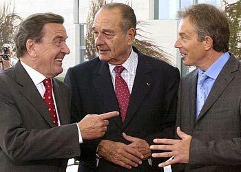 Schröder, Chirac, Blair im vergangenen September: Befürchtungen in Rom