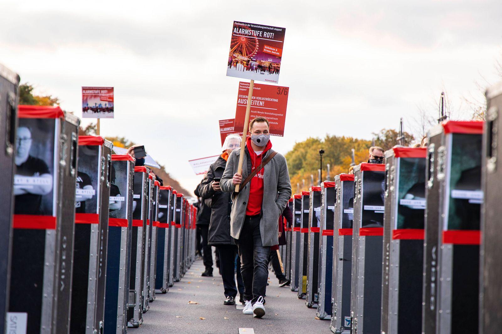 Demonstration Alarmstufe Rot der Veranstaltungsbranche in Berlin am 28.Oktober 2020. Demonstration der Veranstaltungsbr