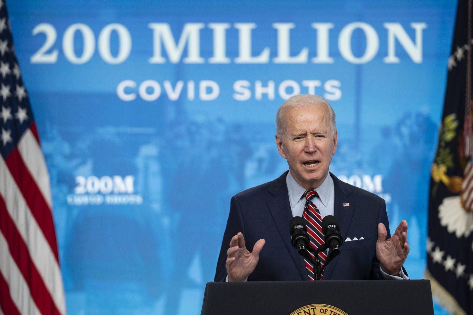 U.S. President Joe Biden speaks in the Eisenhower Executive Office Building in Washington, D.C., U.S., on Wednesday, Apr