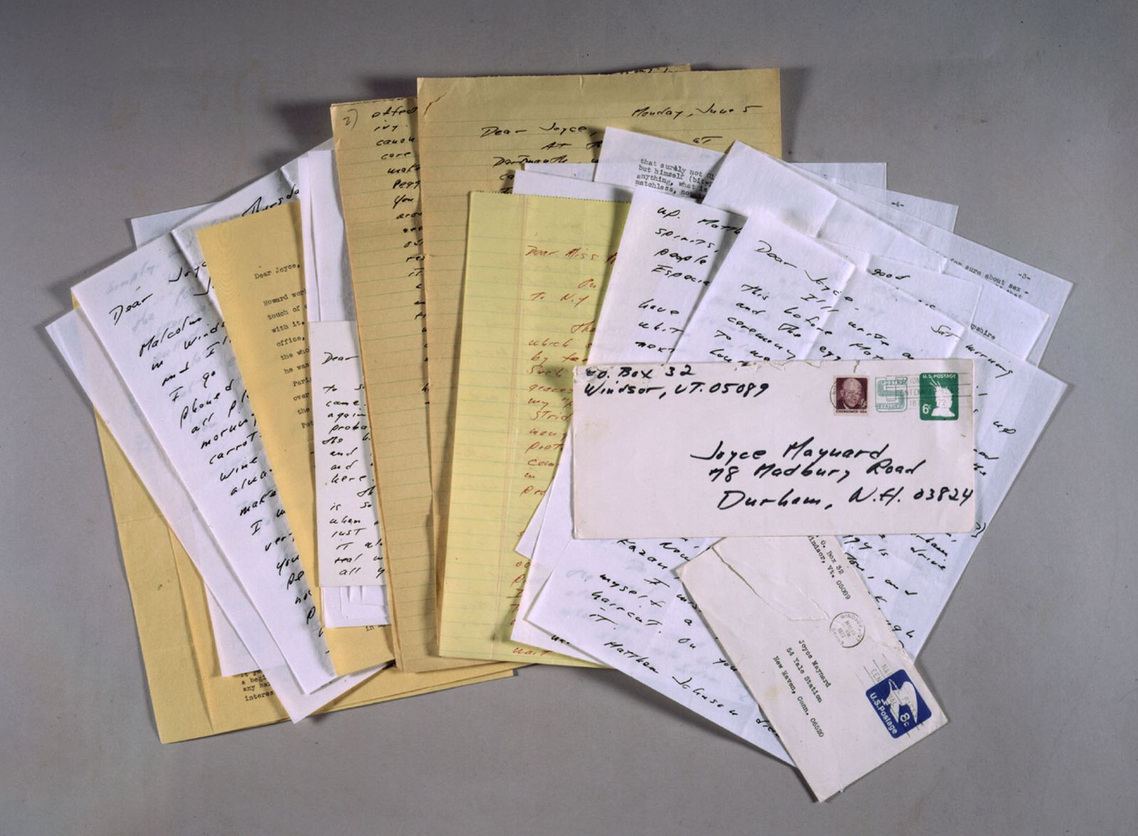 A photograph of love letters reclusive author J.D. Salinger wrote to an 18-year-old woman with whom ..