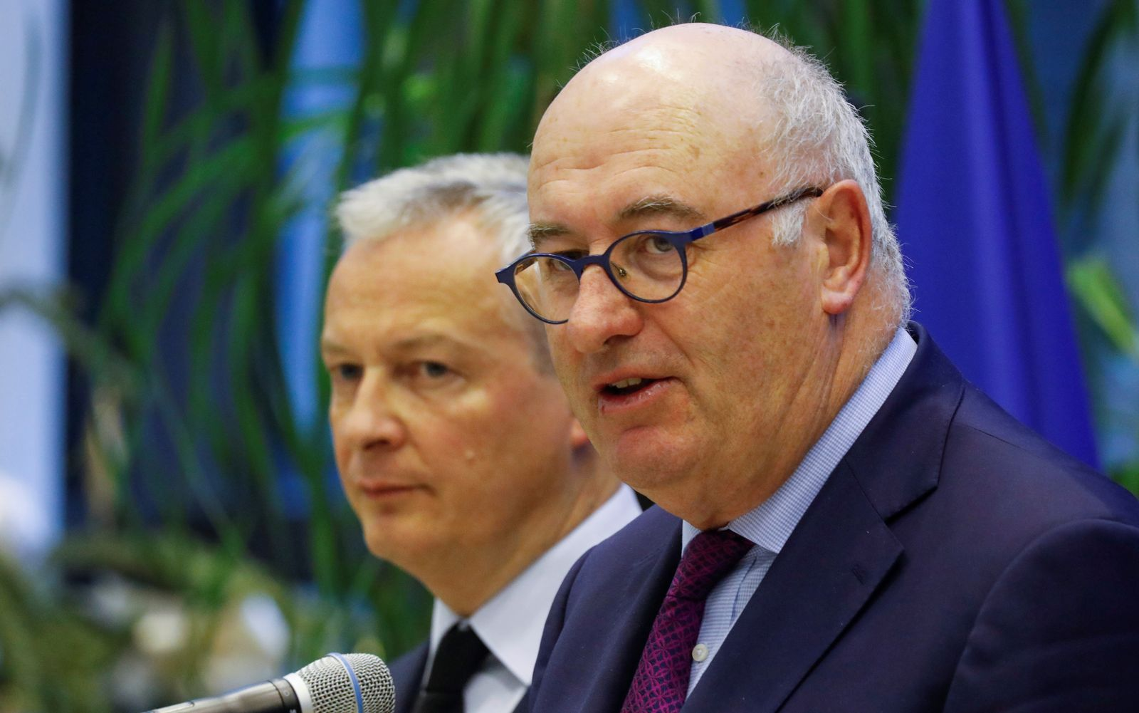 French Finance Minister Bruno Le Maire meets European Trade Commissioner Phil Hogan at the Bercy Finance Ministry in Paris