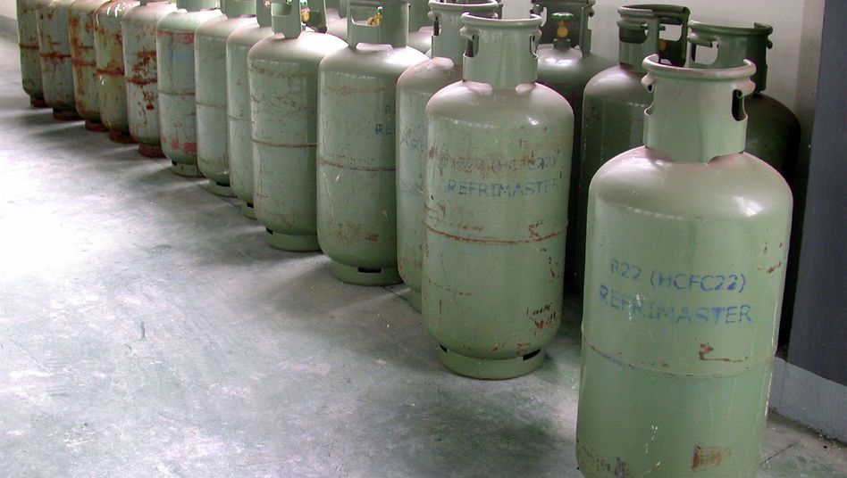 Cylinders of HCFC-22 refrigerant chemicals at a facility in China's Zheijiang province