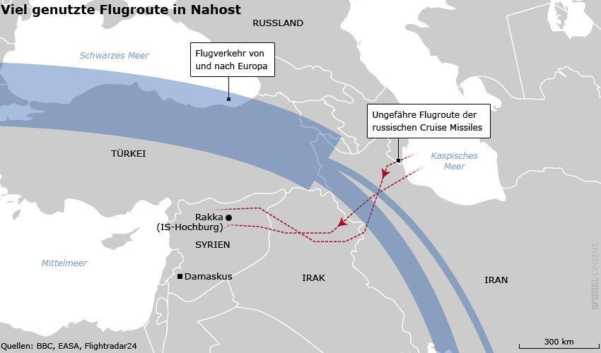 Karte - Viel genutze Flugroute in Nahost