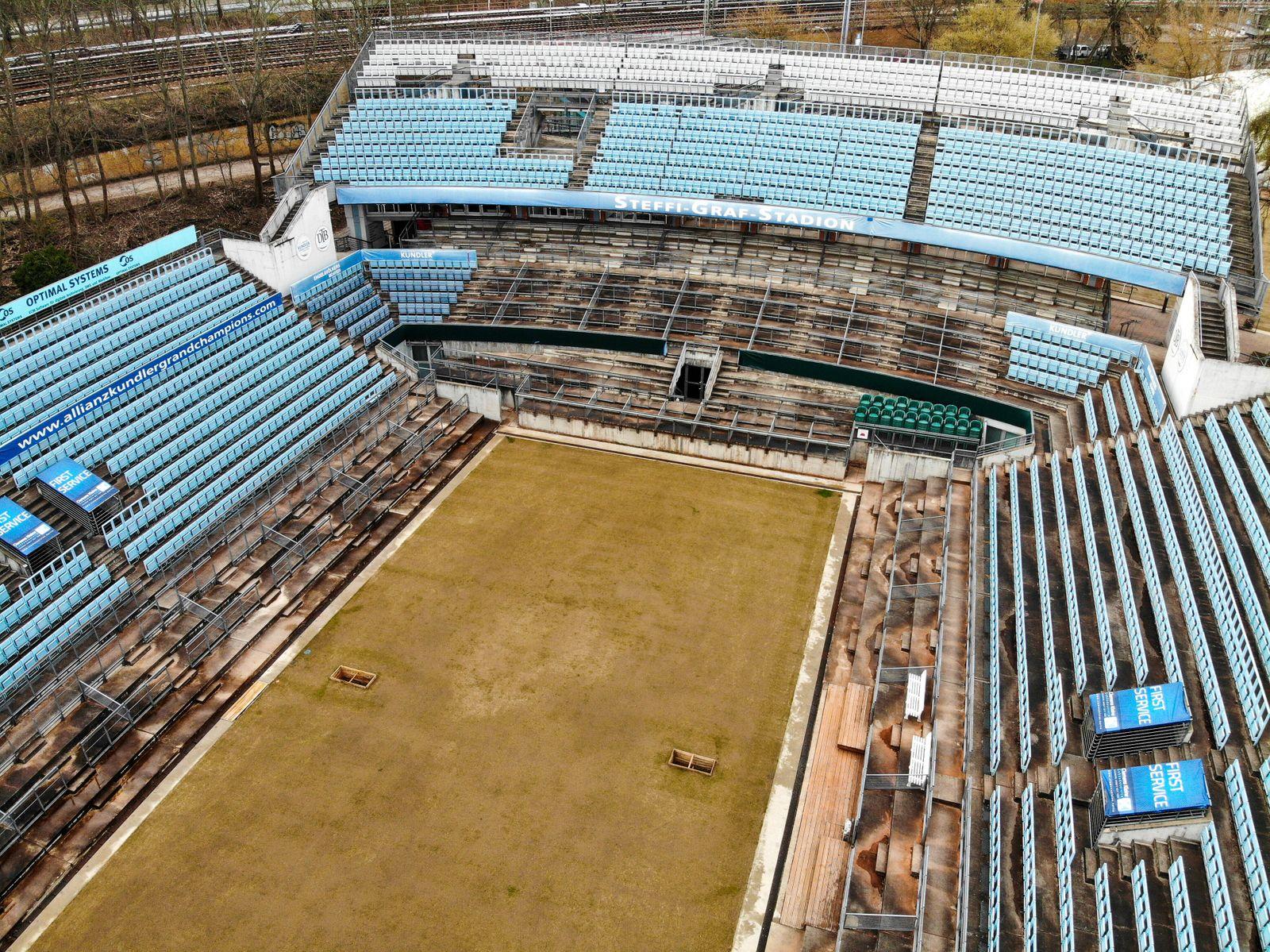 Steffi-Graf-Stadion im Wartemodus f¸r das Rasenturnier, Premierenstart 2020 oder doch erst 2021, LTTC Rot-Wei?, Berlin,
