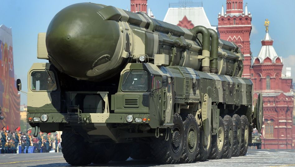 A Russian intercontinental ballistic missile is driven through Moscow's Red Square in 2009.