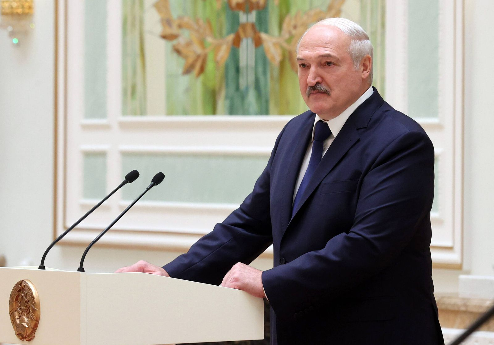 MINSK, BELARUS - OCTOBER 30, 2020: Belarus President Alexander Lukashenko during an introduction ceremony for the newly