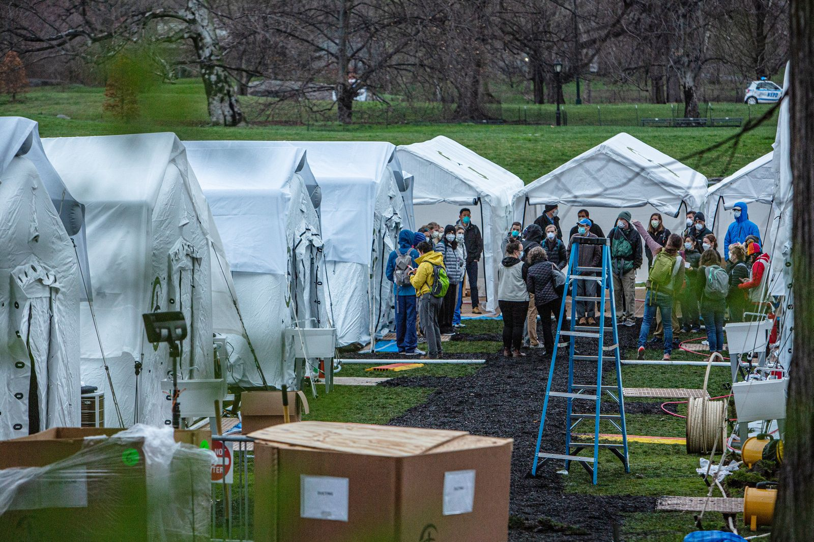 Triage tents in Central Park are setup near New York's Mount Sinai hospital, Tuesday, March 31, 2020, in an effort to better serve people in the wake of the coronavirus. (Juan Arredondo/The New York Times)