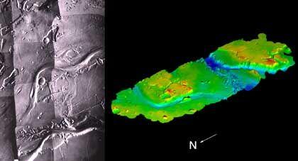 """Mars-Foto der """"Viking""""-Sonde (l.), aus """"Viking""""-Daten erstellte 3D-Ansicht (r.): """"Der Gesamteindruck fehlt"""""""