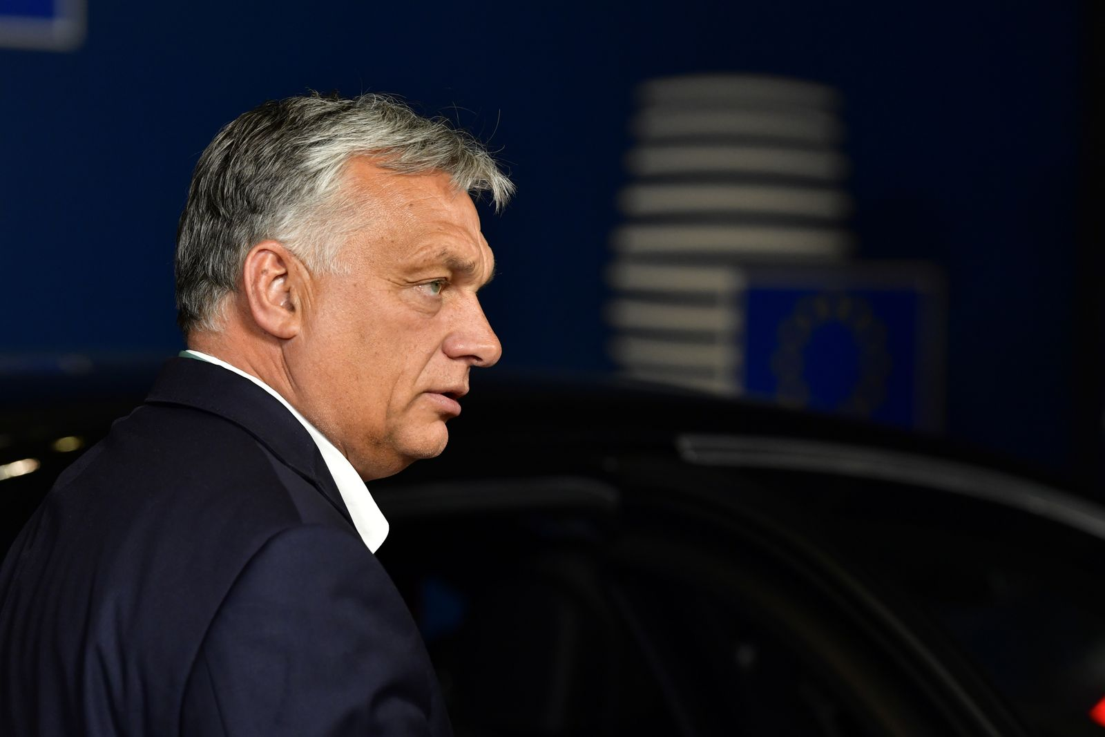 Hungary's Prime Minister Viktor Orban leaves after a meeting of an EU summit on a coronavirus recovery package at the European Council building in Brussels