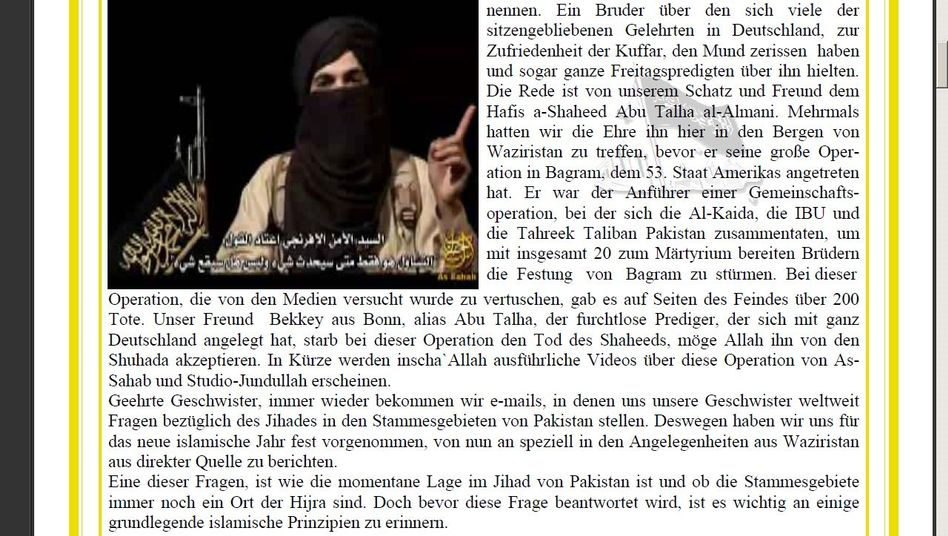 """Auszug aus dem IBU-Schreiben mit der Nachricht vom Tod """"Abu Talhas"""""""