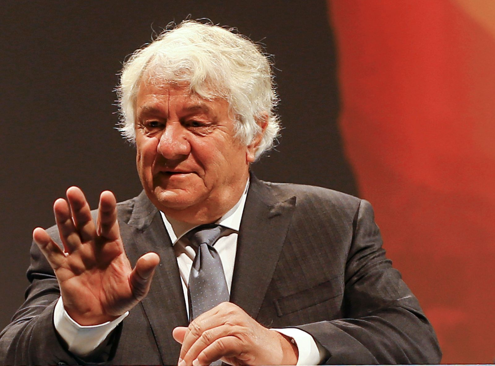 SAP Chairman of the Supervisory Board Plattner gestures before the SAP annual general meeting in Mannheim