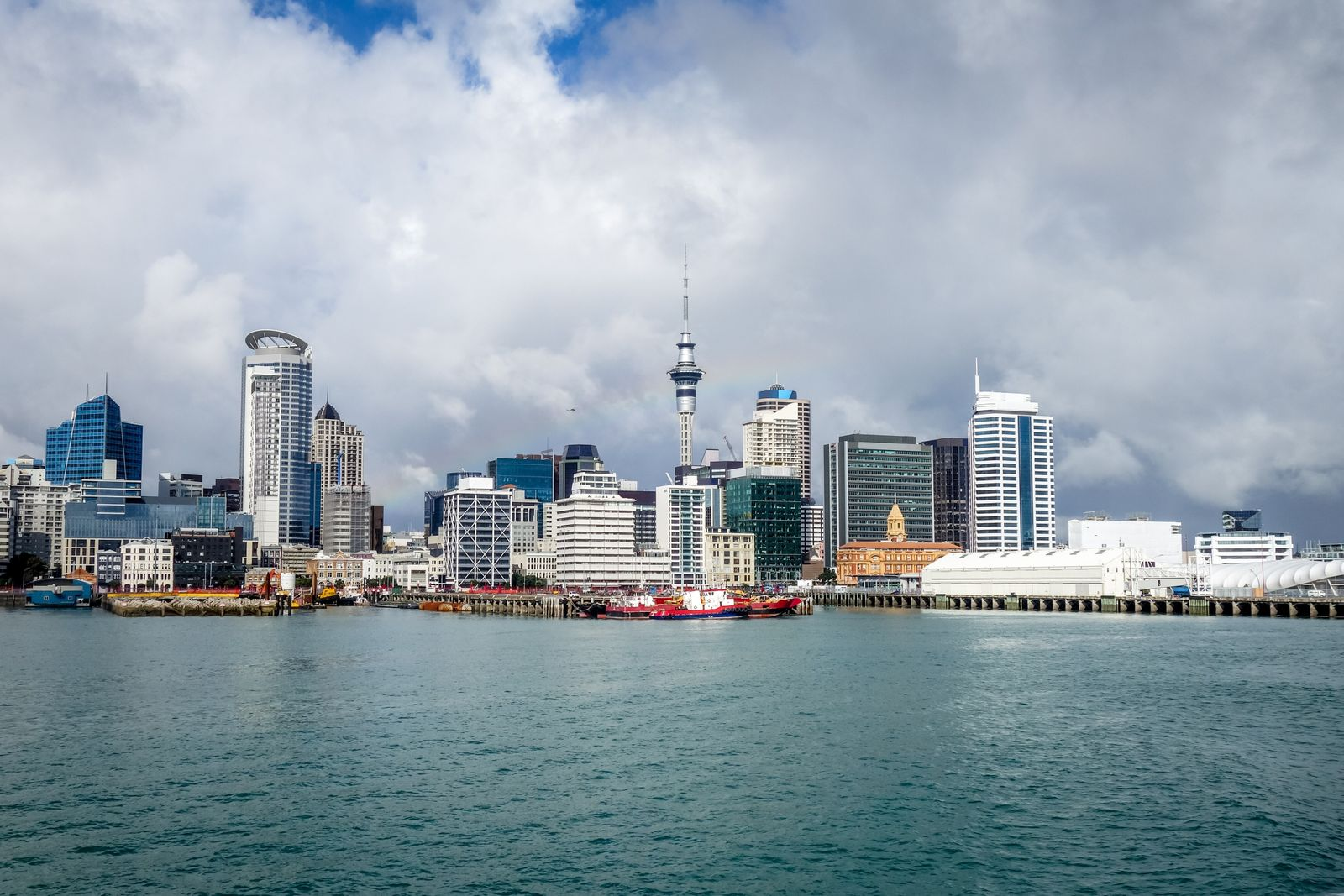Auckland city center view from the sea, New Zealand (YAY Micro)