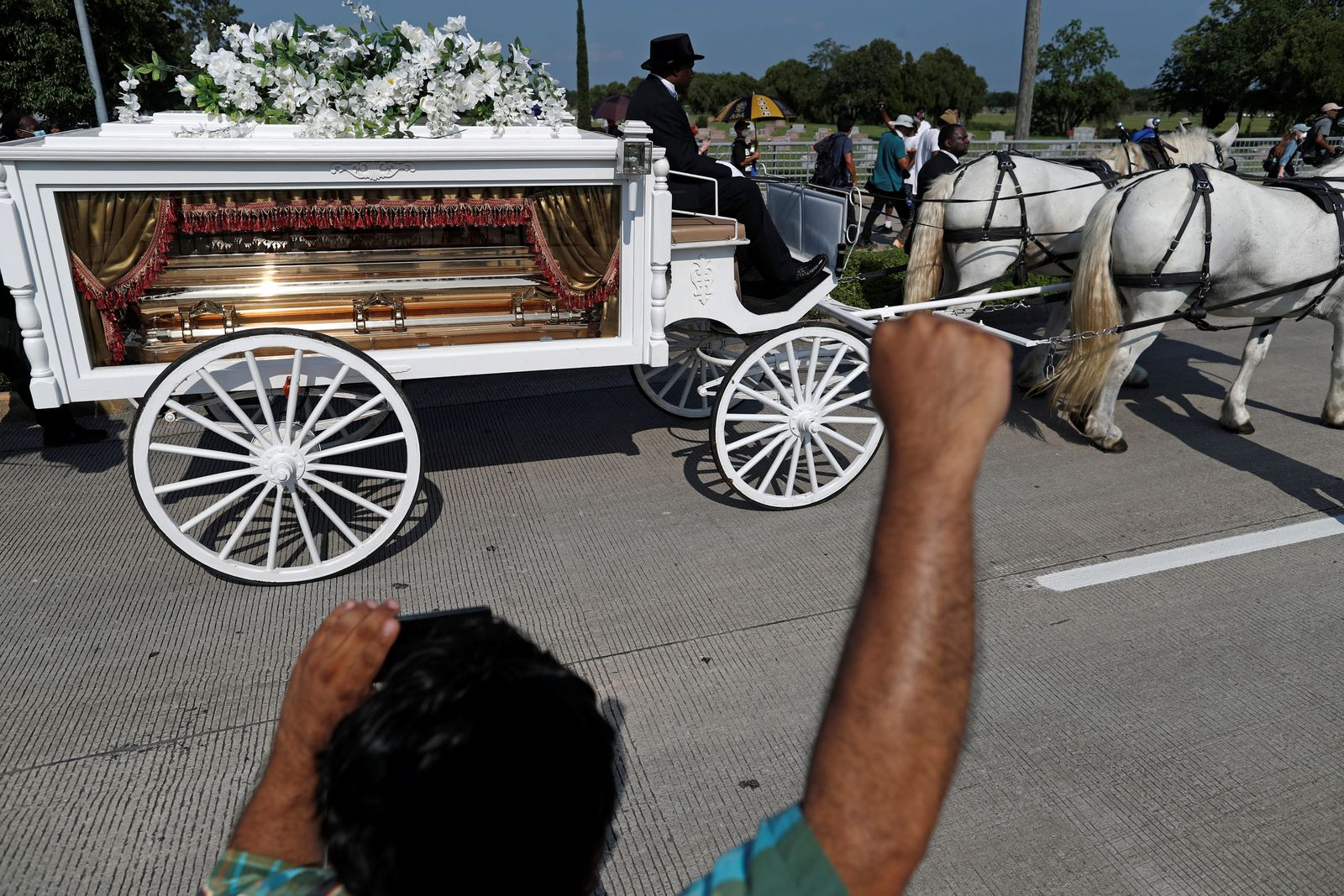 Funeral of George Floyd in the Houston Memorial Gardens cemetery in Pearland