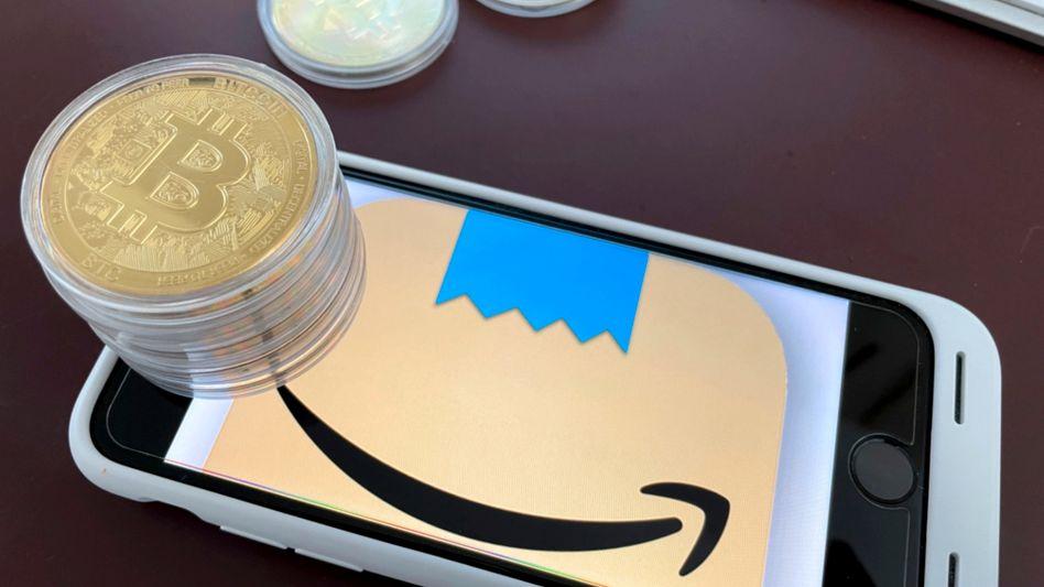Illustration zu Bitcoin und Amazon