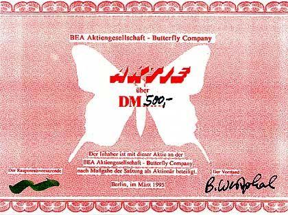50, 250 oder 500 DM kosteten die Bea-Aktien: Das Logo ist eine kleine grüne Raupe, hungrig nach Wissen und Ideen