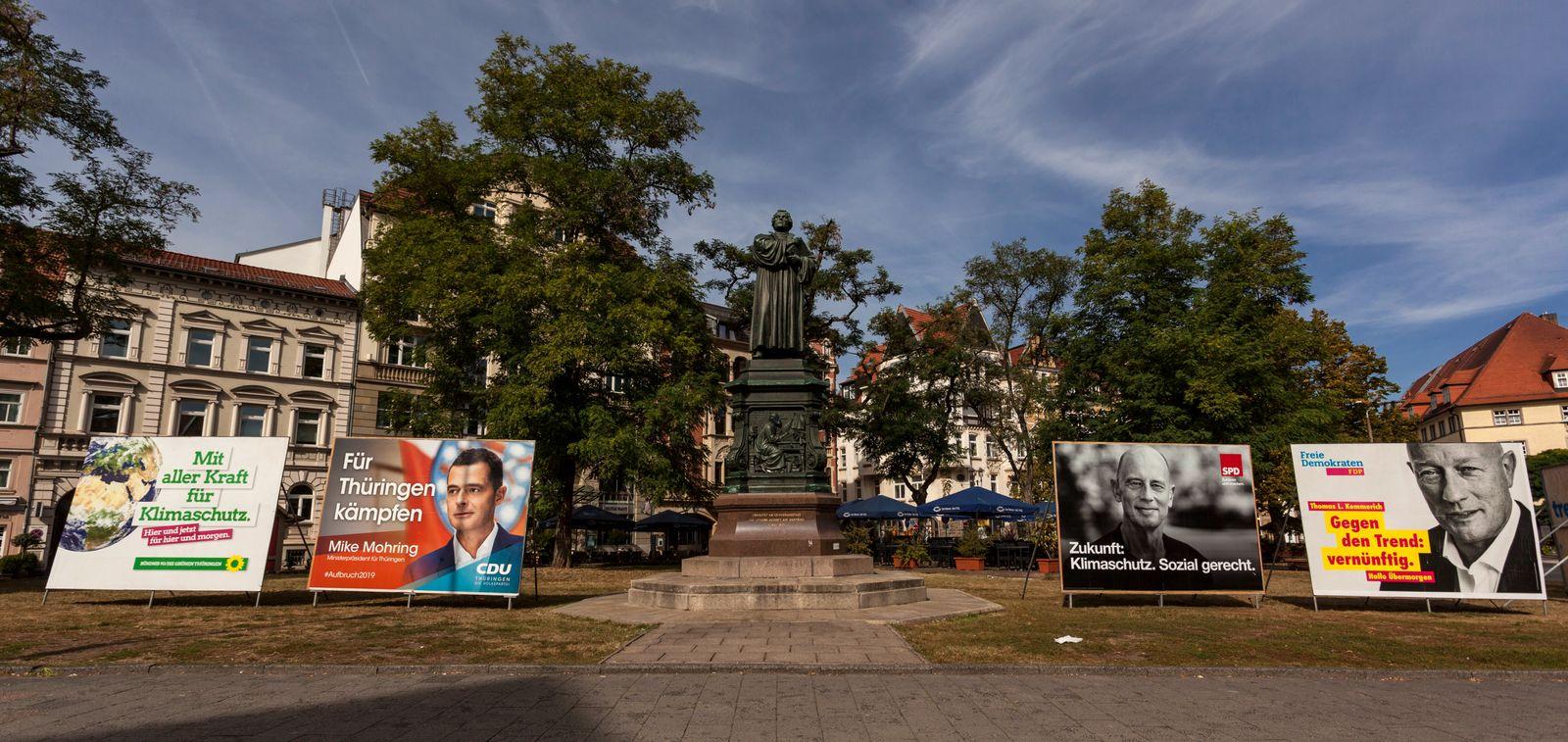 EINMALIGE VERWENDUNG Thüringen 2019/ Wahlkampf/ Plakate