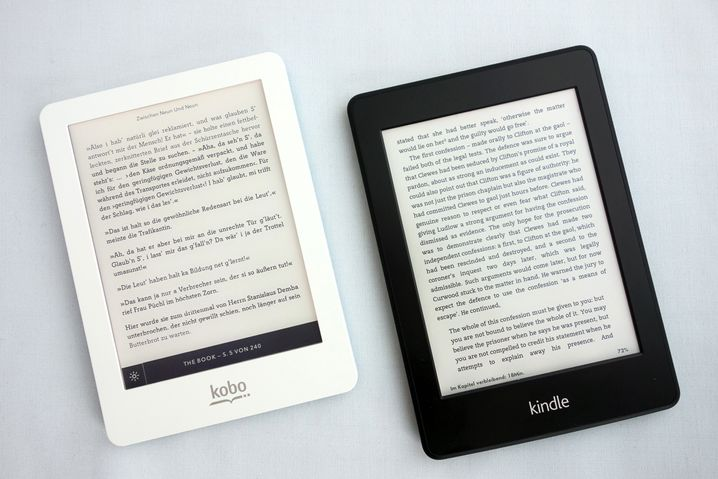 130-Euro-Reader: Kobo Glo (links) und Kindle Paperwhite