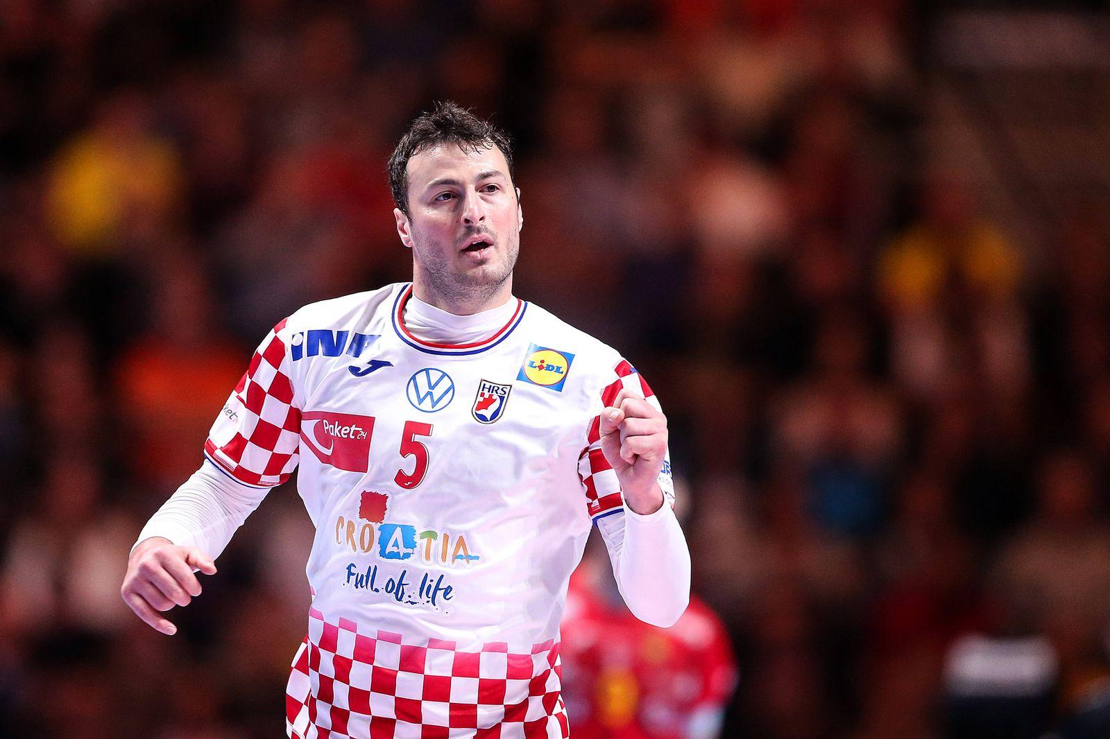 Spain v Croatia - Final - Men s EHF EURO 2020 Domagoj Duvnjak of Croatia celebrate a point during the Men s EHF EURO 202