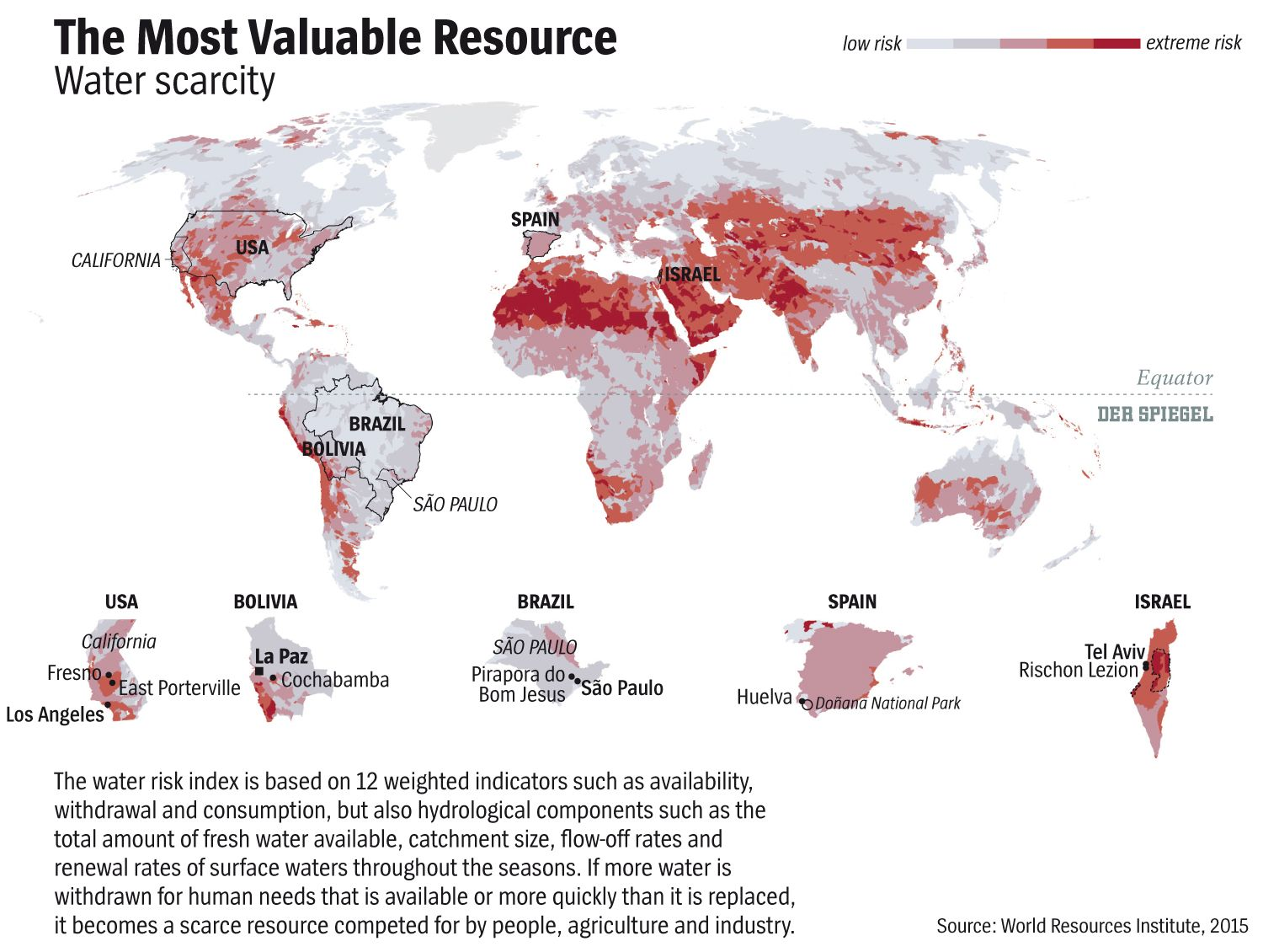 ENGLISH VERSION GRAFIK DER SPIEGEL 33/2015 Seite 11 - The Most Valuable Resource - Water scarcity