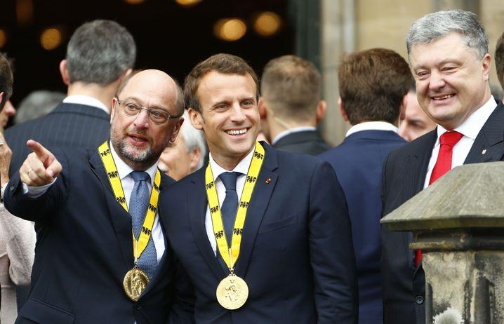Europa-Politiker Martin Schulz, Emmanuel Macron, ukrainischer Präsident Petro Poroschenko