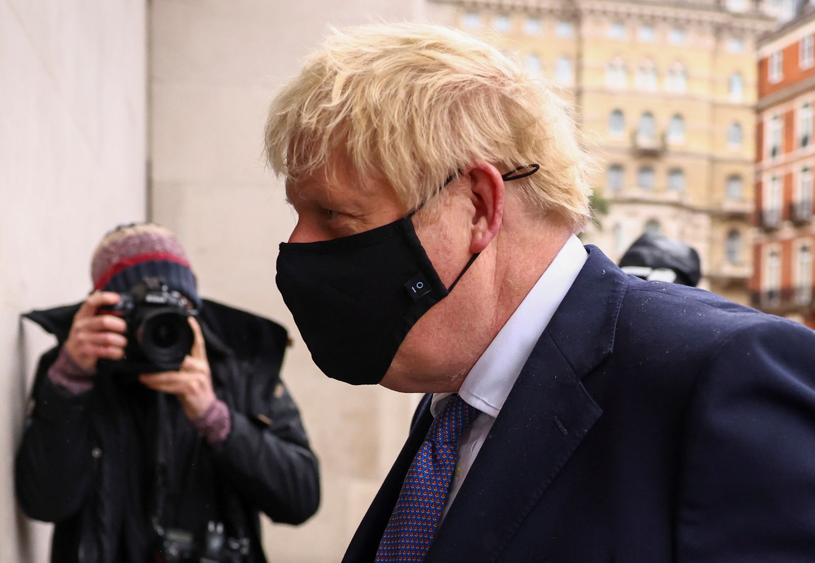 British PM Johnson is seen outside BBC headquarters in London