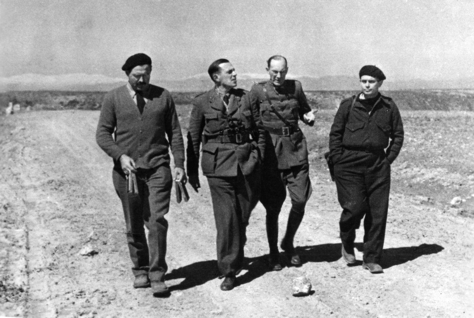 Aug 14 2014 Ernest Hemingway L and Joris Ivens R on set of the Propaganda Film The Spanish Ea
