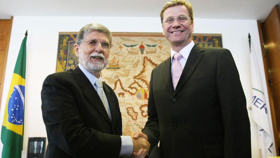 """Außenminister Westerwelle mit brasilianischem Amtskollegen Amorim: """"Türen öffnen"""""""