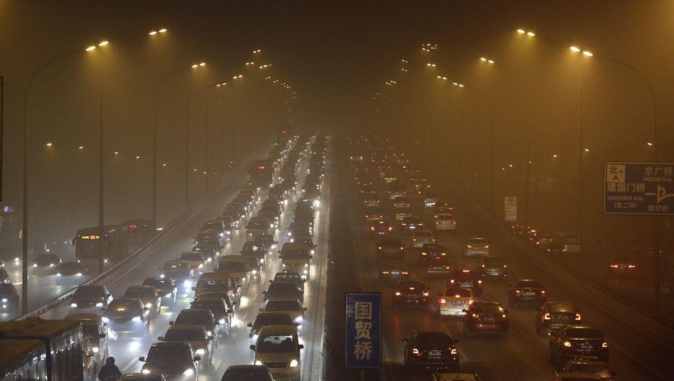 Dicke Luft: Smog in Peking (12. Januar 2013)