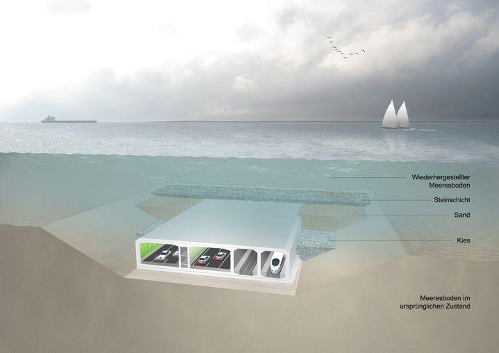 Illustration des geplanten Tunnels durch die Ostsee
