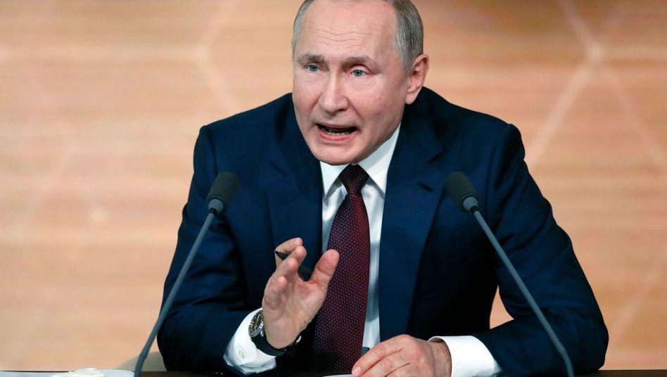 """Russlands Präsident Wladimir Putin auf seiner jährlichen Pressekonferenz: """"Er hat recht, und ich habe recht."""""""