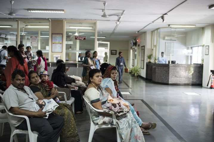 Patients waiting at the Fernandez Hospital in Hyderabad.