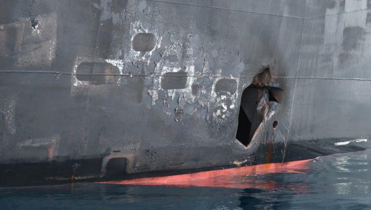 Schaden an einem japanischen Tanker 2019: Bereits damals machten die USA Iran für mehrere Minenangriffe im Persischen Golf verantwortlich