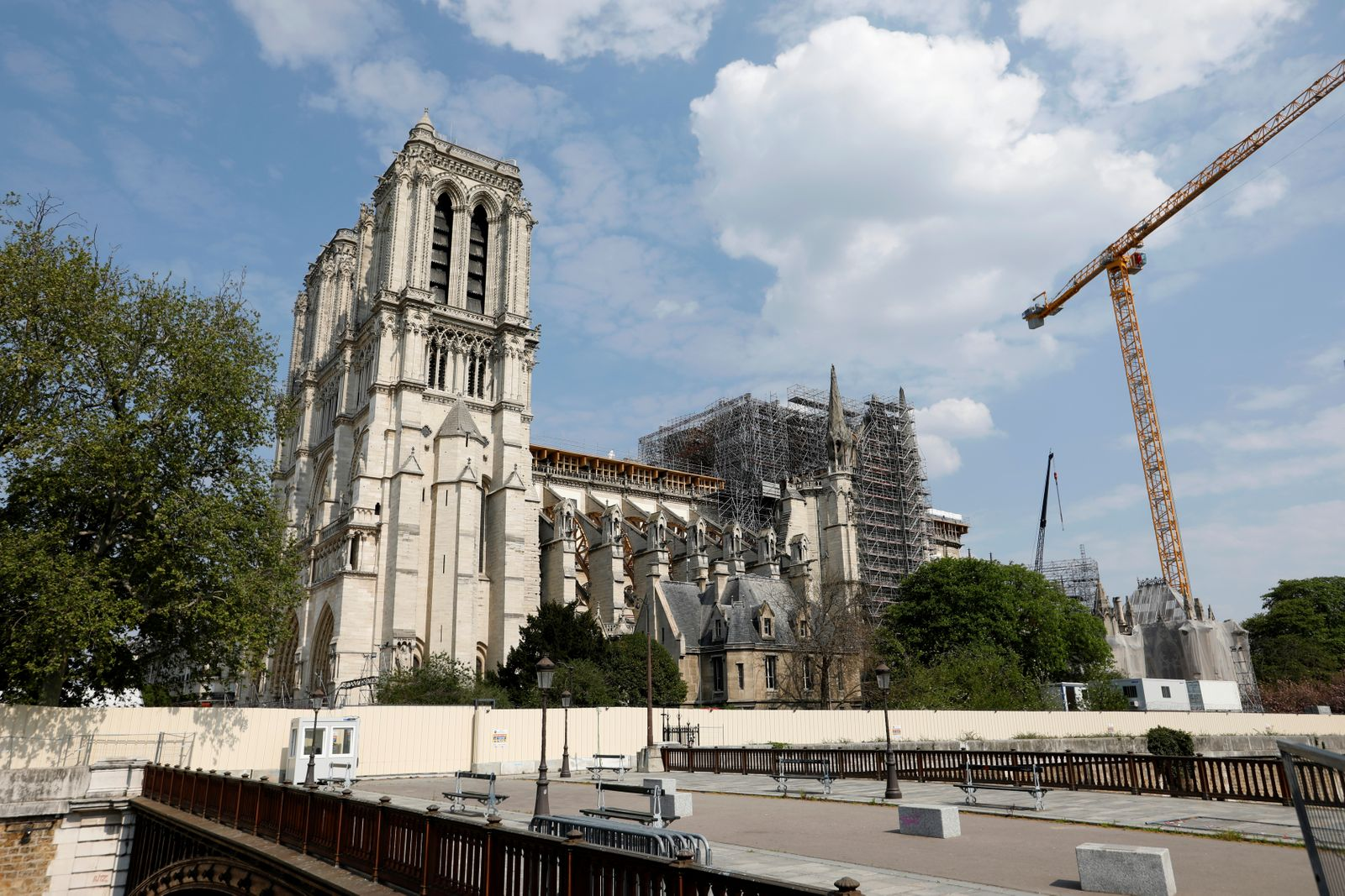 View of the restoration work at Notre Dame Cathedral in Paris