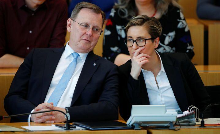 """""""Regierungslinke"""": Ministerpräsident Bodo Ramelow, Fraktionschefin Hennig-Wellsow"""