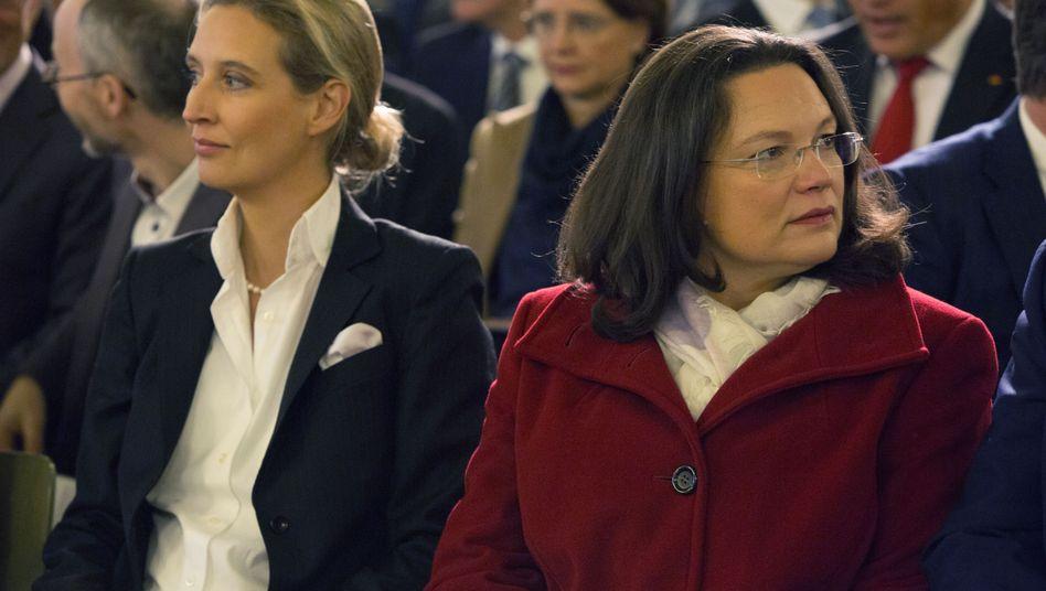 AfD-Fraktionschefin Alice Weidel, SPD-Fraktionschefin Andrea Nahles