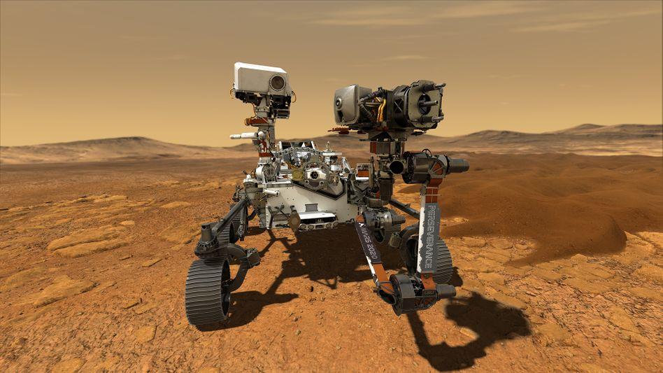 So könnte es aussehen, wenn »Perseverance« auf dem Mars unterwegs ist